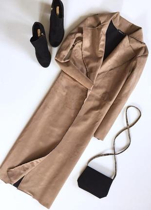 Трендовое удлиненное пальто кардиган на запах под замшу