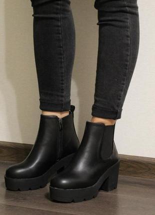 03e2ff85e Стильные женские осенние ботинки челси (ботильйоны) на толстом каблуке из  эко-кожи1 фото ...