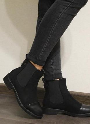 Стильные женскиеосеннние ботинки челси (ботильйоны) из эко-замши