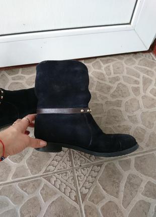 Зимние замшевые синие ботинки