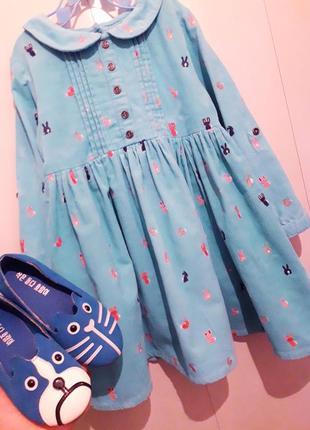 Шикарное вельветовое платье/платице с рукавом в принт мини зайки next 3/4г.