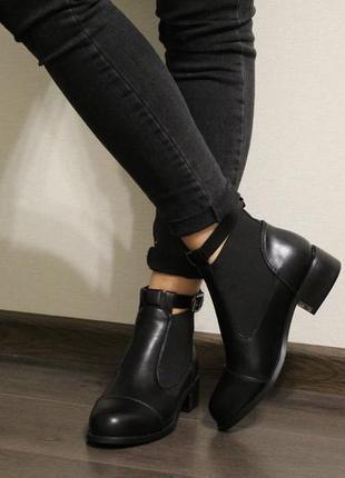 Модные женские осенние ботинки челси с ремешком (ботильйоны) из эко-кожи