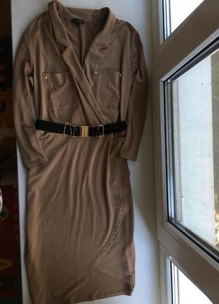 Супер крутое стильное платье на запах модное актуальное с поясом