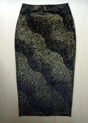Юбка карандаш миди бархатная велюровая с золотистыми блестками пайетками