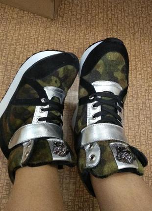 Крутые хаки камуфляжные кроссовки сникерсы с липучками р.34, 35, 36, 37, 38