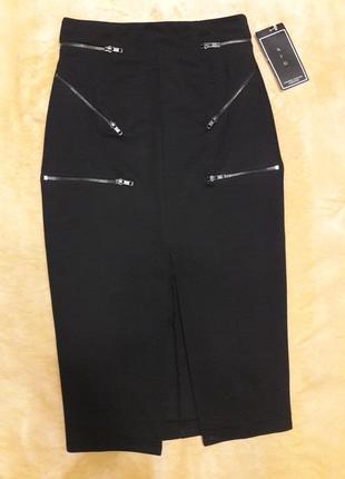 Черная юбка карандаш миди с высокой талией разрезом