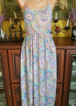 Крутое шифоновое парео пляжное платье сарафан с узорами