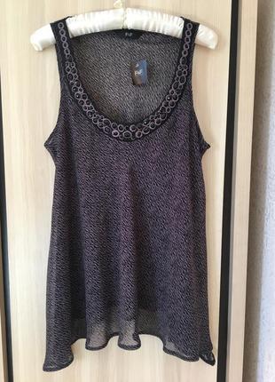 Блуза свободный крой с камнями шифоновая