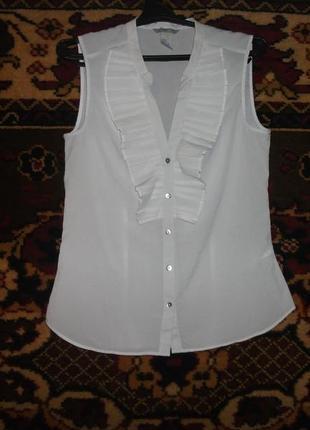 Полупрозрачная блузка-безрукавка h&m с рюшами спереди