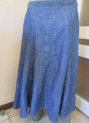 Джинсовая юбка миди, фасон а-силуэт (трапеция), р.14, наш 48-50