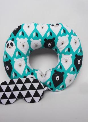 Подушка для путешествий, подушка для шеи, дорожная подушка - медведи