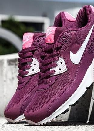"Кроссовки nike air max 90 essential ""burgundy/white/pink"""