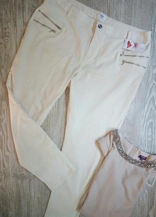Стрейчевые коттоновые брюки цвета слоновой кости f&f размер 22