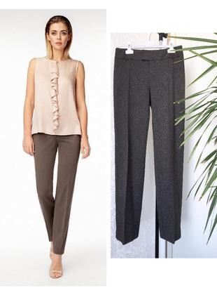 Mango  тканные прямые брюки коричневый меланж eur 38 s/m