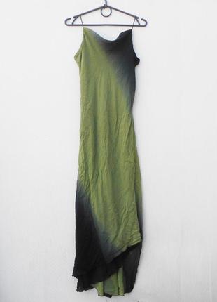 Летнее легкое шелковое длинное коктейльное платье омбре