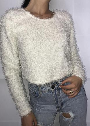 Укороченный легкий свитер кроп травка пушистый мягенький теплый осенний xs/s/m 2018
