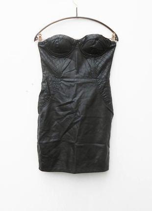 Черное шикарное кожаное (заменитель) коктейльное облегающее платье бюстье на молнии