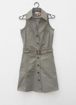 Джинсовое классическое платье рубашка cафари с воротником без рукавов