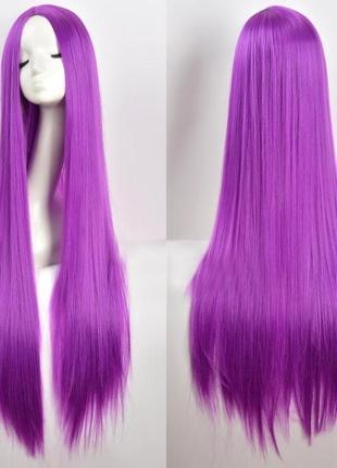 Парик прямой длинный с пробором имитация кожи фиолетовый темный 100см 3768