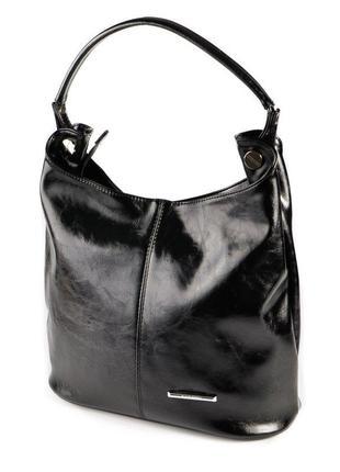 Сумка шоппер черная женская на плечо глянцевая фактура