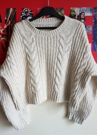 Тёплый вязаный укороченый свитер крупной вязки объёмный пуловер asos h&m