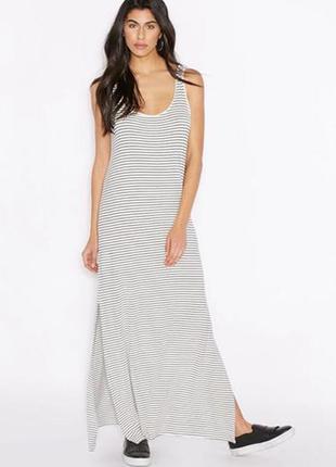 Платье в пол длинное морячка полоска разрезы