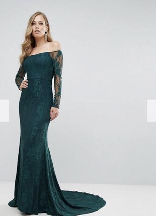 Роскошное гипюровое платье со шлейфом изумрудного цвета от bariano australia