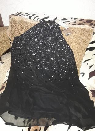 Бомбезное вечерние черное платье трапеция с паетками