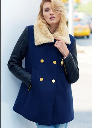 Зимнее пальто, куртка с кожаными рукавами h&m