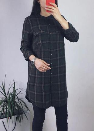 Платье рубашка в клеточку хаки
