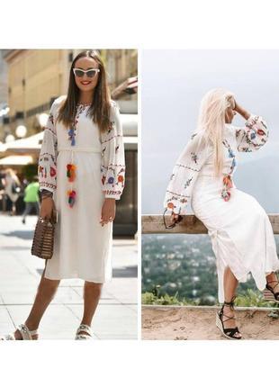Платье миди с вышивкой от zara