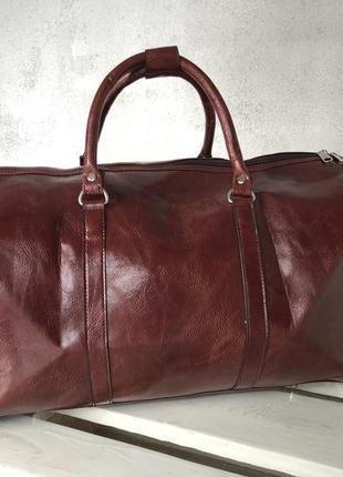 🔥эксклюзив! коричневая богатая сумка дорожная из эко кожи ручная кладь дорожня сумка