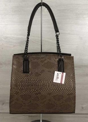 Коричневая деловая сумка саквояж с комбинированными ручками под питона