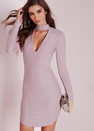 Вечернее коктейльное лиловое платье с чокером missguided