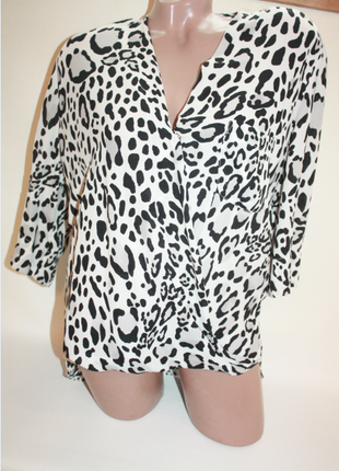 Блузка шифоновая леопардовый принт удлиненная на запах topshop (к018)