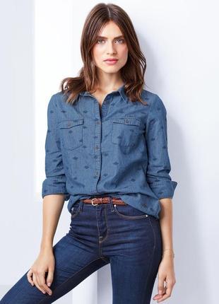 Рубашка джинсовая тсм tchibo, размеры 44, 46, 50 рус