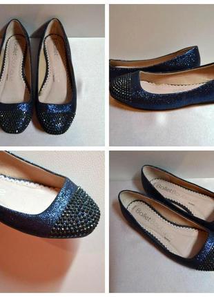 Синие красивые туфли,балетки с камнями 36 размер