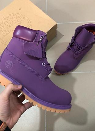 Нежные женские ботинки от timberland фиолетовые без меха