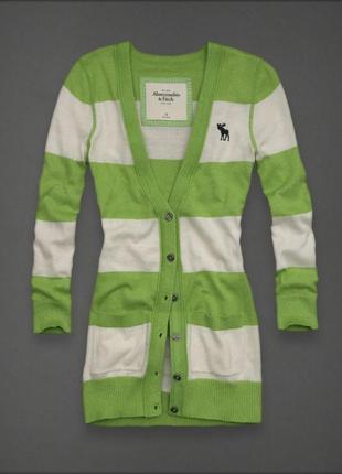 Кардиган длинный на пуговицах белый зеленый abercrombie&fitch оригинал хлопок вискоза