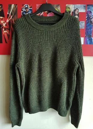 Длинный вязаный свитер объёмный пуловер оверсайз крупной вязки хаки asos h&m