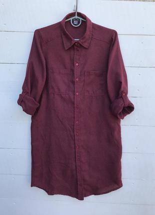 Бордовая удлинённая рубашка/платье рубашка