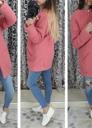 Актуальное бойфренд пальто розового зефирного пудрового цвета ткань букле барашек