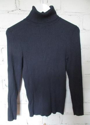 Гольф в рубчик/водолазка/свитер/темно-синий
