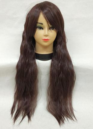 Парик гофре волнистый с косой челкой темно-коричневый 3633