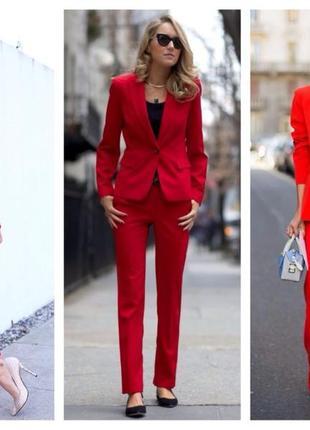 Брючный костюм красного цвета тренд осени zara