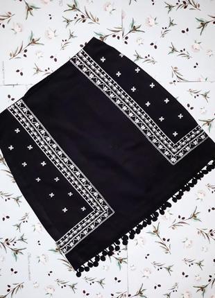 Акция 1+1=3 ультрамодная черная юбка с вышивкой new look, размер xs-s