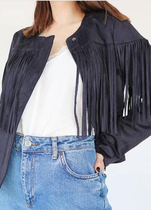 Крутая куртка кожанка с бахромой, косуха