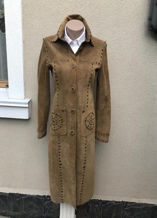 Крутой,винтаж,замша,кожа плащ,тренч,пальто,метал заклепки,оригинал,karen millen