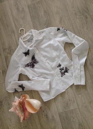 Воздушная блуза с бабочками 100% коттон