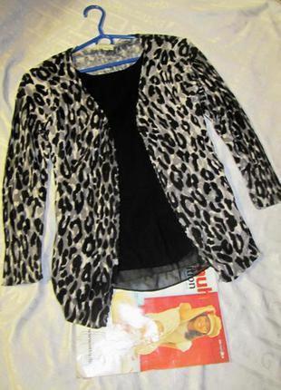 Оригинальная кофточка в леопардовый принт р-р xs-s обхват груди - 40+